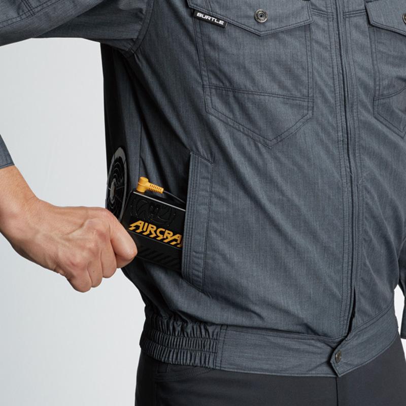 バッテリー収納ポケット(右:マジックテープ止め) ※特許取得済